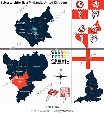 Vector map of Leicestershire in East Midlands, United Kingdom with regions and flags