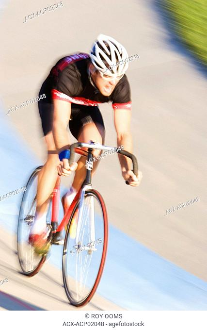 Cyclist on racing track