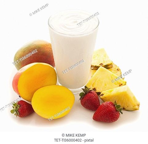 Pineapple, mango and strawberry smoothie
