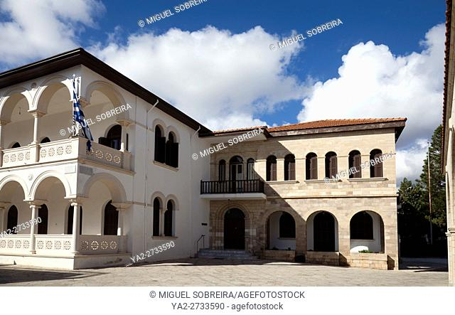 Resistance Square with Holy Bishopric of Pafos from Agios Theodoros Cathedral in Paphos Old Town, Cyprus