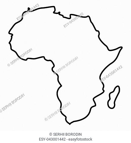 Map of Africa icon black color vector illustration flat style outline