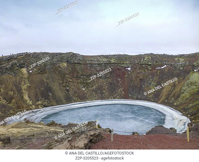 The Kerid crater in winter Iceland
