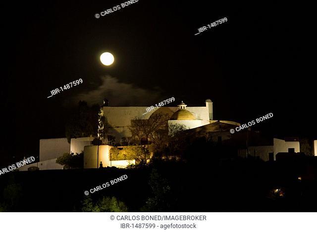 Full moon over the church Puig de Missa, Santa Eulalia, Ibiza, Spain, Europe