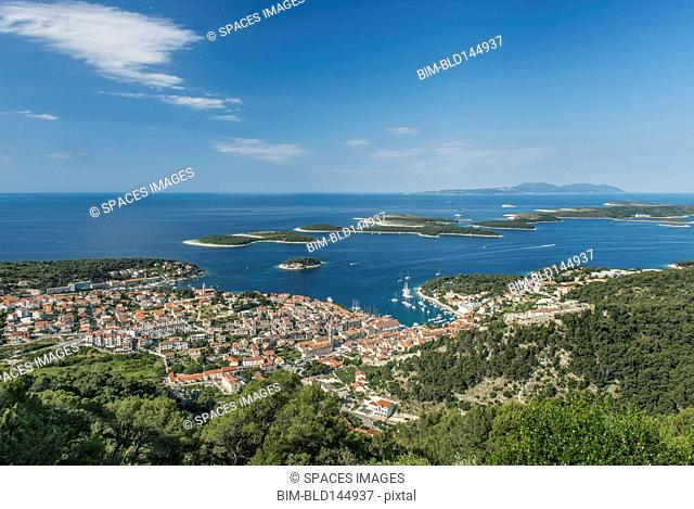 Aerial view of coastal town and hillside, Hvar, Split, Croatia