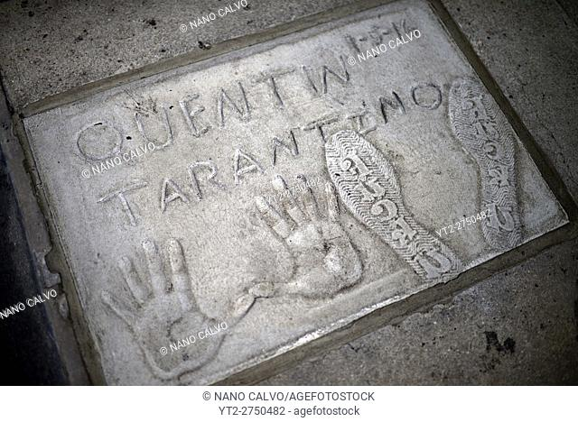 Quentin Tarantino's prints in Grauman's Chinese Theatre, Hollywood Boulevard