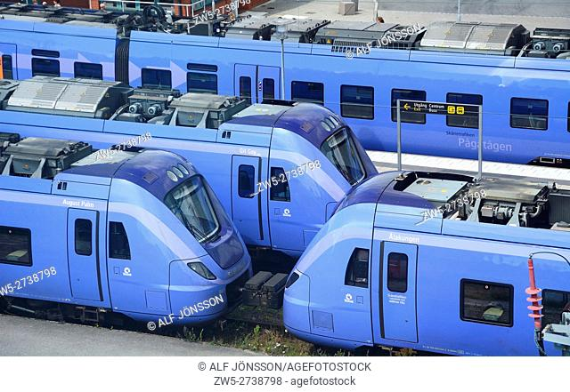 Trains on a railroad station i Ystad, Sweden