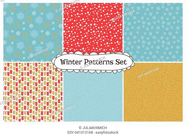 Set of abstract seamless patterns. Part of Christmas collection of illustrations. Can be used for wallpaper, packaging and stationery, surface textures