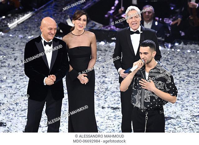 Italian comedian and presenter Claudio Bisio, Italian comedian and presenter Virginia Raffaele, Italian singer and presenter Claudio Baglioni