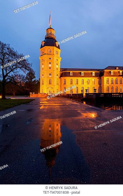 Germany, Baden-Wurttemberg, Karlsruhe, Illuminated Karlsruhe Palace