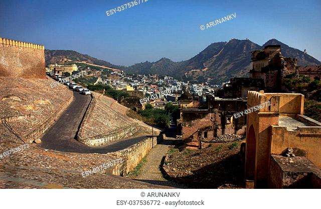This old city (Amer Fort) is Located high on a hill, it is the principal tourist attractions in the Jaipur area