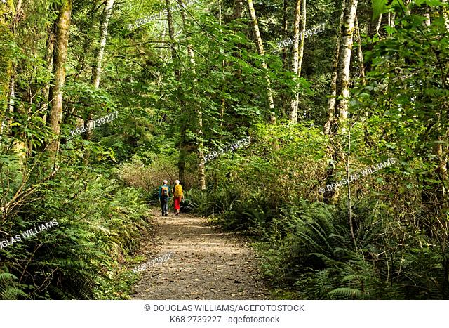 Two women walk on a path in the forest on Bowen Island, BC, Canada