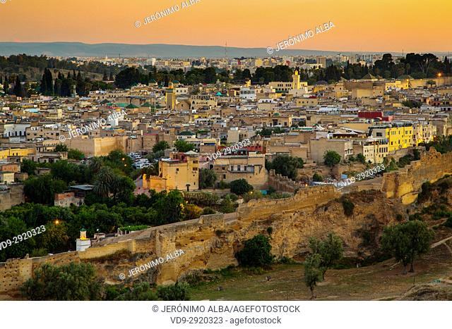 Dusk Landscape, panoramic view, Old city wall, Souk Medina of Fez, Fes el Bali. Morocco, Maghreb North Africa