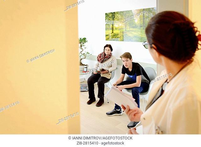 Waiting room in doctors surgery,Konstanz,Germany