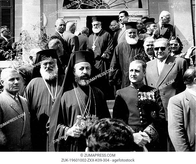 Apr. 12, 1955 - Nicosia, Cyprus - ARCHBISHOP MAKARIOS III watches a 'Freedom' parade held in Cyprus. Next to him is the Bishop of Kitium