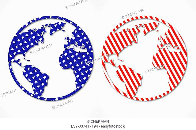Abstract world map isolated on light background. World map in the style of the American flag