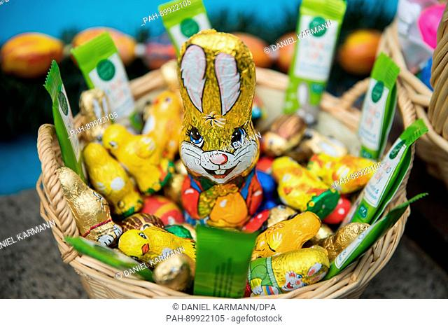 "An Easter nest with chocolate bunnies and chickens can be seen during the traditional game of """"Oierhiart'n"""" (egg tapping or egg jarping in Bavarian) in..."