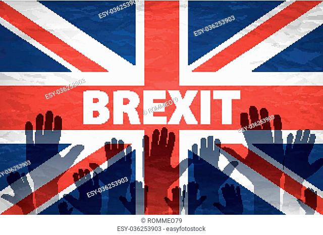 two persons holding hands patterned with the flag of the United Kingdom and the flag of the European Community, with a vignette added art