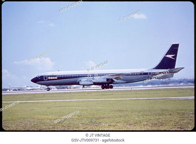 BOAC Airlines Boeing 707-436 Commercial Jet Taking off from Runway, Miami, Florida, USA, 1960's