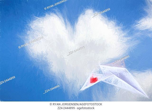 Fine art digital sketch of a paper plane love note soaring through blue skies of clouded hearts. Flight of fancy