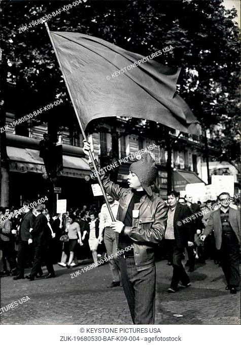 May 30, 1968 - Over 200.000 workers demonstrate in Paris:Some 200.000 CST workers and supporters marched from the Bastille to Saint Lazare Station in one of the...