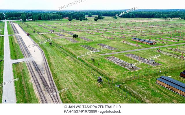 The former concentration camp Auschwitz-Birkenau can be seen in Oswiecim, Poland, 26 June 2017 (taken with a drone). The major paramilitary organization in Nazi...