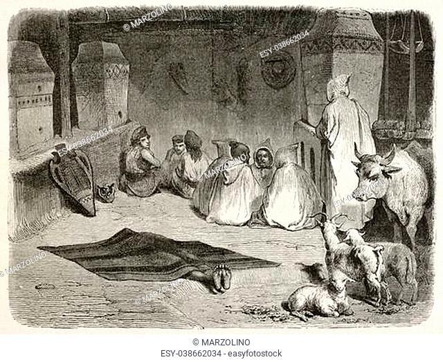 Funeral visit in dead's house, Kabylia, Algeria. Created by Stop after Duhousset, published on Le Tour Du Monde, Paris, 1867