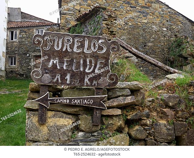 Rustic stone houses on the Camino de Santiago as it passes through Furelos, Melide, A Coruna
