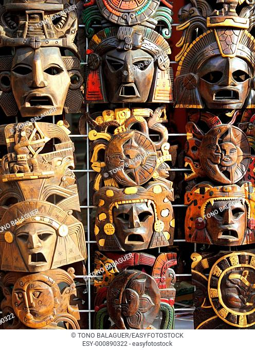 art Mexican wooden mask handcrafted wood faces