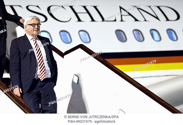German Foreign Minister Frank-Walter Steinmeier leaves the airplane after landing at the airport in Doha, Qatar, 31 May 2014
