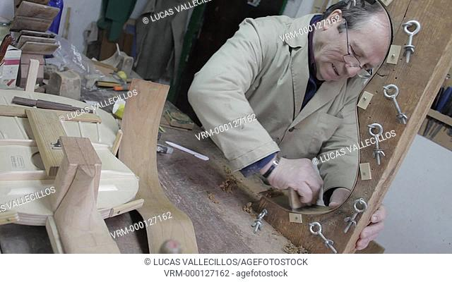 Workshop of Andrés Dominguez,luthier,Guitar maker.Calle Covadonga 9. Triana quarter,Sevilla,Spain