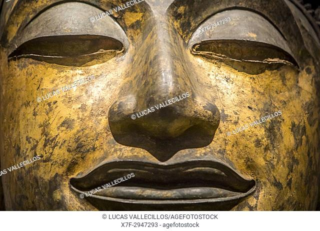 face, head, buddha, sculpture,statue,The National Museum,Exhibition Hall 1, Bangkok, Thailand