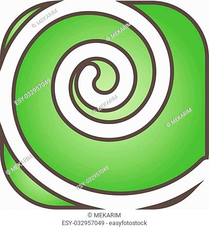 Logo represents a white swirl on green background