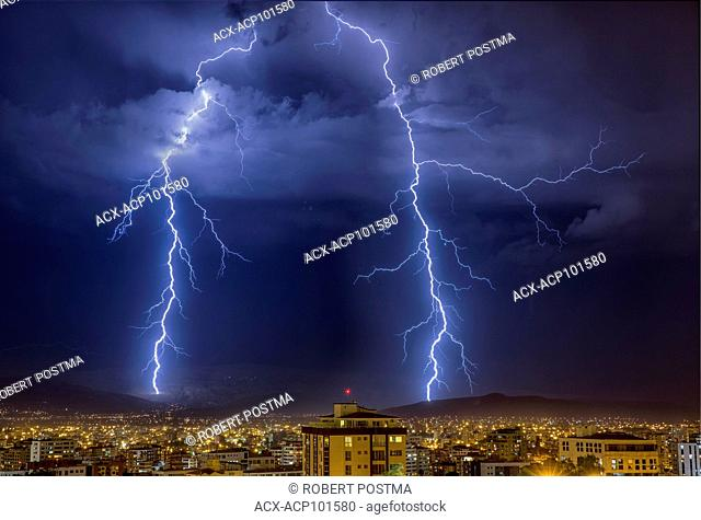 Lightning over the city of Cochabamba, Bolivia during the rainy eason