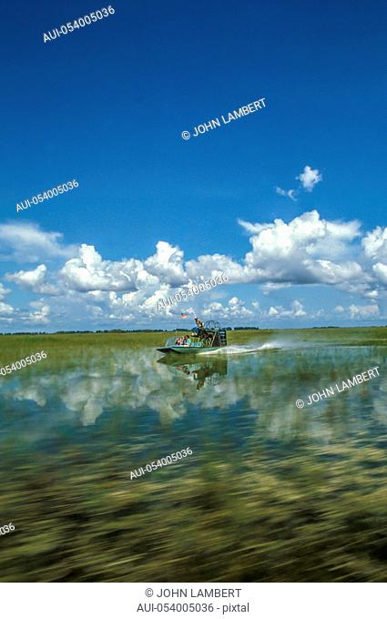 usa, florida, homestead, everglades national park, airboat with tourists