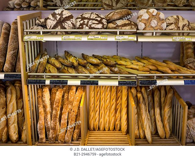 France, Auvergne, Cantal, Food: different kinds of french breads in a bakkery at Maurs. 'Baguettes', 'Flutes', 'Pain tradition', 'Tourtes', etc