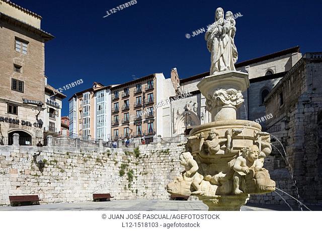 Fountain at Plaza de Santa María, Burgos, Castille-Leon, Spain
