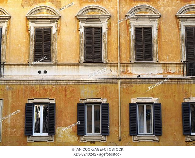 orange building and windows, Via dei Bergamaschi, Rome, Italy