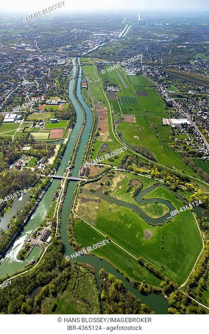 Aerial view, Lippeauen Hamm-Mitte, Lippe, Datteln-Hamm Canal, Airport Hamm-Lippewiesen, Hamm, Ruhr district, North Rhine-Westphalia, Germany