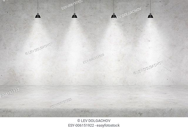 background, advertisement and texture concept - concrete wall with lights
