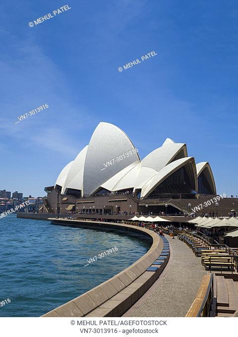 Sydney Opera House and Opera Bar, Sydney Harbour, Sydney, New South Wales, Australia,