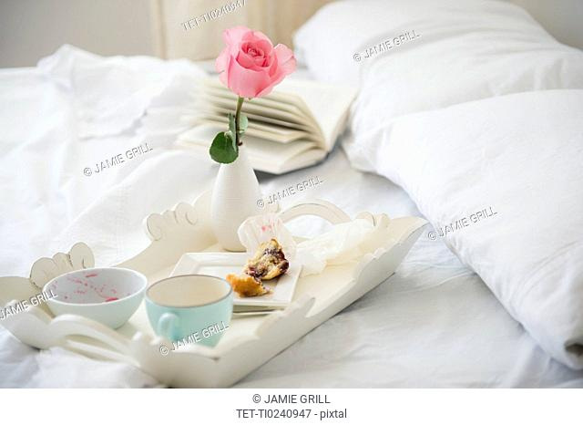 Breakfast plate on bed