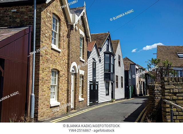 Picturesque houses, Sea Street, Whitstable, Kent, England, UK