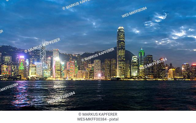 China, Hong Kong, Central, city view in the evening