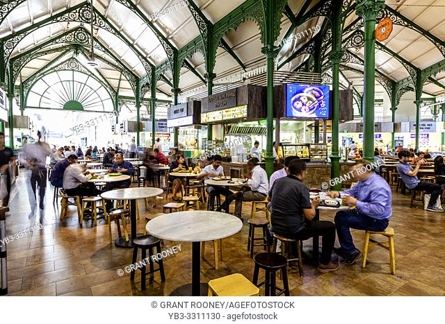 People Eating Lunchtime Food At The Lau Pa Sat Festival Market, Singapore, South East Asia