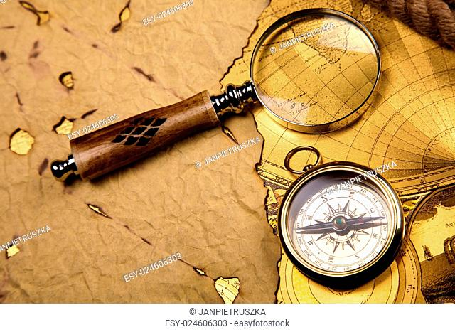 Close up view of the compass