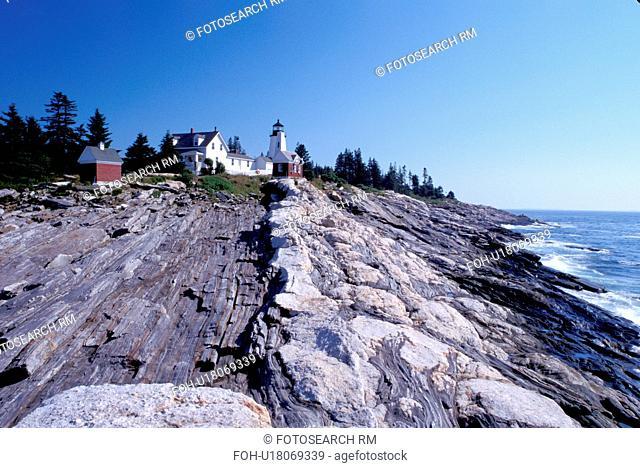 lighthouse, Pemaquid Point, Maine, ME, Bristol, Pemaquid Head Light along the rocky coast of the Atlantic Ocean