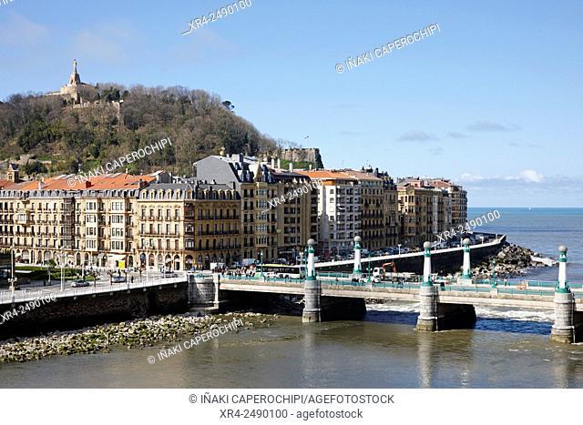 Kursaal Bridge and Monte Urgull, San Sebastian, Basque Country, Spain