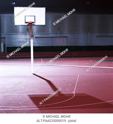 Basketball court, night