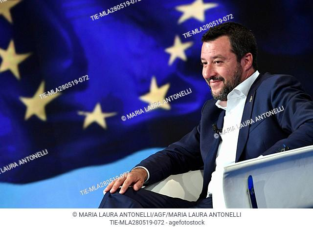 Italian Deputy Prime Minister, Minister of Interior and leader of Lega party Matteo Salvini during the tv show Porta a porta, Rome, ITALY-27-05-2019