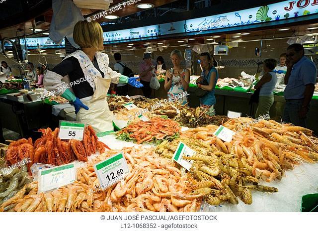 La Boquería Market, Barcelona, Catalonia, Spain